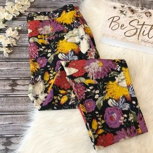 Anthro Elevenses Floral Pant Ankle Cropped, 14